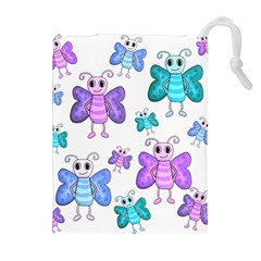 Cute Butterflies Pattern Drawstring Pouches (extra Large) by Valentinaart