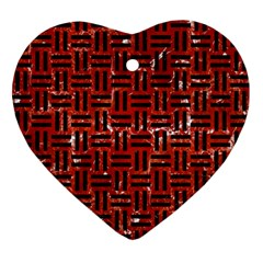 Woven1 Black Marble & Red Marble (r) Ornament (heart) by trendistuff