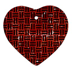 Woven1 Black Marble & Red Marble (r) Heart Ornament (two Sides) by trendistuff