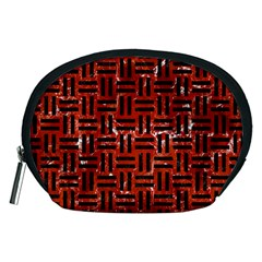 Woven1 Black Marble & Red Marble (r) Accessory Pouch (medium) by trendistuff