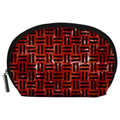 Woven1 Black Marble & Red Marble (r) Accessory Pouch (large) by trendistuff