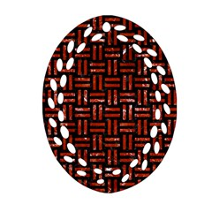 Woven1 Black Marble & Red Marble Oval Filigree Ornament (two Sides) by trendistuff