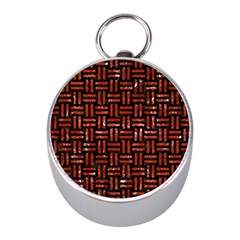 Woven1 Black Marble & Red Marble Silver Compass (mini) by trendistuff