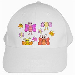 Cute Butterflies Pattern White Cap