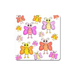 Cute Butterflies Pattern Square Magnet by Valentinaart