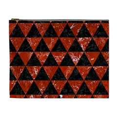 Triangle3 Black Marble & Red Marble Cosmetic Bag (xl) by trendistuff