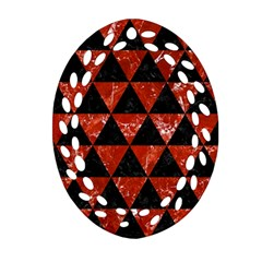 Triangle3 Black Marble & Red Marble Ornament (oval Filigree) by trendistuff