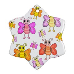 Cute Butterflies Pattern Snowflake Ornament (2 Side) by Valentinaart