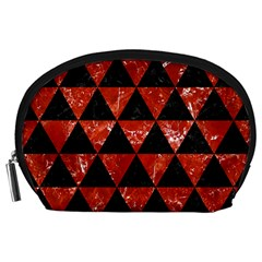 Triangle3 Black Marble & Red Marble Accessory Pouch (large)