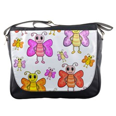 Cute Butterflies Pattern Messenger Bags by Valentinaart