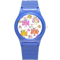 Cute Butterflies Pattern Round Plastic Sport Watch (s)