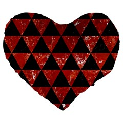 Triangle3 Black Marble & Red Marble Large 19  Premium Flano Heart Shape Cushion by trendistuff