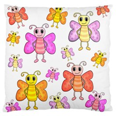 Cute Butterflies Pattern Large Flano Cushion Case (one Side)