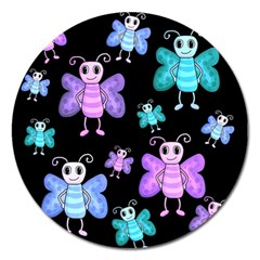 Blue And Purple Butterflies Magnet 5  (round) by Valentinaart