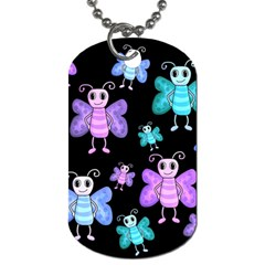 Blue And Purple Butterflies Dog Tag (one Side) by Valentinaart