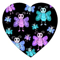Blue And Purple Butterflies Jigsaw Puzzle (heart) by Valentinaart