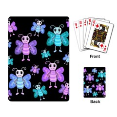 Blue And Purple Butterflies Playing Card by Valentinaart