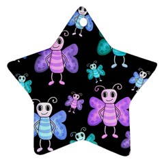 Blue And Purple Butterflies Star Ornament (two Sides)  by Valentinaart