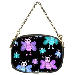 Blue And Purple Butterflies Chain Purses (one Side)  by Valentinaart