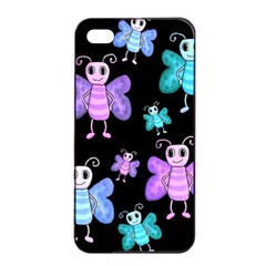 Blue And Purple Butterflies Apple Iphone 4/4s Seamless Case (black) by Valentinaart