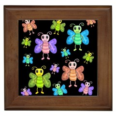 Cartoon Style Butterflies Framed Tiles by Valentinaart