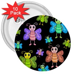 Cartoon Style Butterflies 3  Buttons (10 Pack)  by Valentinaart