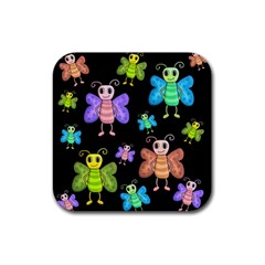 Cartoon Style Butterflies Rubber Coaster (square)  by Valentinaart