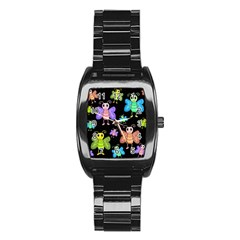Cartoon Style Butterflies Stainless Steel Barrel Watch by Valentinaart