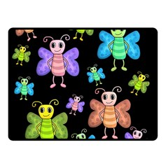 Cartoon Style Butterflies Double Sided Fleece Blanket (small)  by Valentinaart