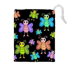 Cartoon Style Butterflies Drawstring Pouches (extra Large) by Valentinaart