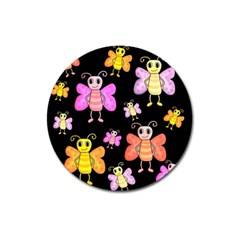 Cute Butterflies, Colorful Design Magnet 3  (round) by Valentinaart