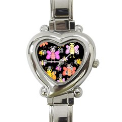 Cute Butterflies, Colorful Design Heart Italian Charm Watch by Valentinaart