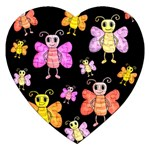 Cute butterflies, colorful design Jigsaw Puzzle (Heart) Front