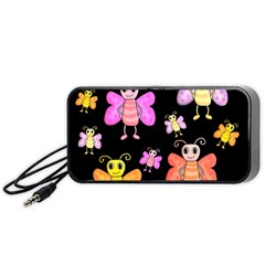 Cute Butterflies, Colorful Design Portable Speaker (black)  by Valentinaart