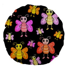 Cute Butterflies, Colorful Design Large 18  Premium Round Cushions by Valentinaart