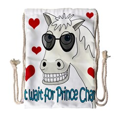 Don t Wait For Prince Sharming Drawstring Bag (large) by Valentinaart