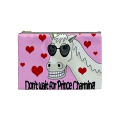Don t Wait For Prince Charming Cosmetic Bag (medium)  by Valentinaart