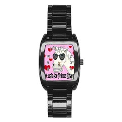 Don t Wait For Prince Charming Stainless Steel Barrel Watch by Valentinaart