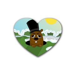 Groundhog Rubber Coaster (heart)  by Valentinaart