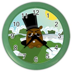 Groundhog Color Wall Clocks by Valentinaart