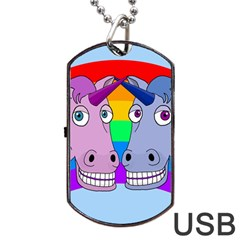 Unicorn Love Dog Tag Usb Flash (one Side) by Valentinaart