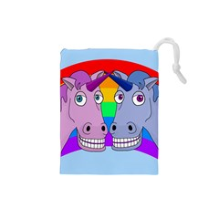 Unicorn Love Drawstring Pouches (small)  by Valentinaart