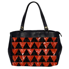 Triangle2 Black Marble & Red Marble Oversize Office Handbag (2 Sides) by trendistuff