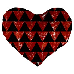 Triangle2 Black Marble & Red Marble Large 19  Premium Heart Shape Cushion