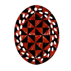 Triangle1 Black Marble & Red Marble Ornament (oval Filigree) by trendistuff