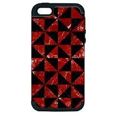 Triangle1 Black Marble & Red Marble Apple Iphone 5 Hardshell Case (pc+silicone) by trendistuff