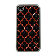 Tile1 Black Marble & Red Marble Apple Iphone 4 Case (clear)