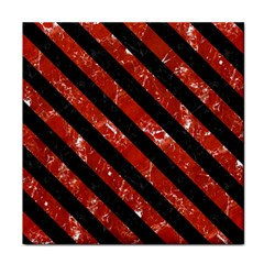 Stripes3 Black Marble & Red Marble (r) Tile Coaster