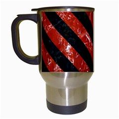 Stripes3 Black Marble & Red Marble (r) Travel Mug (white) by trendistuff