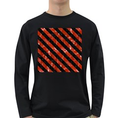 Stripes3 Black Marble & Red Marble (r) Long Sleeve Dark T Shirt
